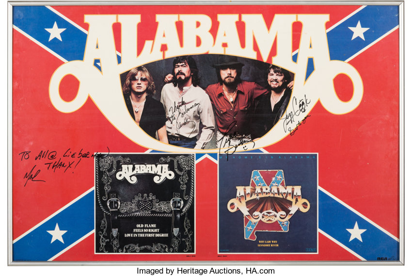Alabama Poster Signed by Four Members of the Band      Music   Lot