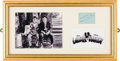 Movie/TV Memorabilia:Autographs and Signed Items, Stan Laurel and Oliver Hardy Signed Autograph Album Page in Framed Tableau....