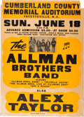 Music Memorabilia:Posters, Allman Brothers Band Cumberland County Memorial Auditorium ConcertPoster (1972). Extremely Rare. ...