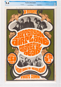 Grateful Dead CARDSTOCK Concert Poster BG-74 First Printing AOR-2.100 CGC 9.4 (1967). One Of The Rarest Bill Graham Seri...