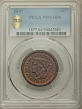 Large Cents, 1847 1C MS64 Brown PCGS Gold Shield. PCGS Population: (74/27 and 2/0+). NGC Census: (58/29 and 0/0+). CDN: $550 Whsle. Bid ...