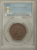 Large Cents, 1850 1C MS64 Brown PCGS Gold Shield. PCGS Population: (151/85 and 2/2+). NGC Census: (142/124 and 0/0+). CDN: $400 Whsle. B...