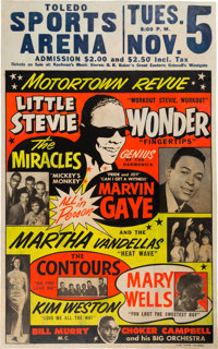 Stevie Wonder/Marvin Gaye Sports Arena Concert Poster (1963). Extremely Rare