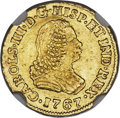 Colombia, Colombia: Charles III gold Escudo 1767 PN-J AU55 NGC,...