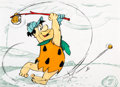 Animation Art:Concept Art, The Flintstones Fred Playing Golf Concept Cel by GeneHazelton (Hanna-Barbera, c. 1980s)....