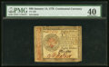 Colonial Notes:Continental Congress Issues, Continental Currency January 14, 1779 $80 PMG Extremely Fine 40.. ...