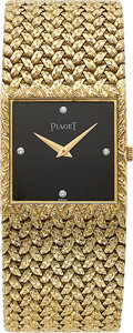 Estate Jewelry:Watches, Piaget Gentleman's Diamond, Black Onyx, Gold Watch. ...
