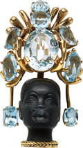 Estate Jewelry:Brooches - Pins, Aquamarine, Diamond, Ebony, Gold Clip-Brooch . ...