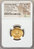 Ancients:Byzantine, Ancients: Justinian I the Great (AD 527-565). AV solidus (22mm,4.50 gm, 6h). NGC Choice AU 5/5 - 4/5, wavy flan....