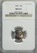 Roosevelt Dimes, 1952 10C MS67★ NGC. NGC Census: (187/5 and 10/0*). PCGS Population: (59/1 and 10/0*). CDN: $70 Whsle. Bid for proble...