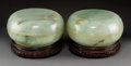 Carvings, A Pair of Large Chinese Carved Celadon Jade Boxes with Covers on Fine Hardwood Stands, Qing Dynasty, 19th century . 5-1/4 x ... (Total: 2 Items)