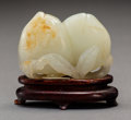 Carvings, A Chinese White Jade Peach Carving, 18th century. 2 x 2-1/4 x 1 inches (5.1 x 5.7 x 2.5 cm) (including stand). ...
