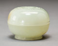 Carvings, A Chinese Carved White Jade Box and Cover, Qing Dynasty, 18th century. 1-3/4 x 2-3/8 inches (4.4 x 6.0 cm). ...