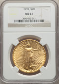 Saint-Gaudens Double Eagles: , 1910 $20 MS61 NGC. NGC Census: (990/7434). PCGS Population: (532/8400). MS61. Mintage 482,000. ...