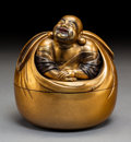 Other, A Japanese Gold Lacquered Hotei-Form Box with Cover, Edo period. 5-7/8 x 5-1/2 inches (14.9 x 14.0 cm) (overall). ...