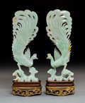 Carvings, A Pair of Chinese Carved Jadeite Phoenix Figures on Stands, 19th century . 13-5/8 x 4-3/4 x 3-3/4 inches (34.6 x 12.1 x 9.5 ... (Total: 2 Items)