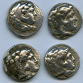Ancients:Ancient Lots  , Ancients: ANCIENT LOTS. Greek. Macedonian Kingdom. Alexander IIIthe Great (336-323 BC). Lot of four (4) AR tetradrachms.VG-Fine.... (Total: 4 coins)