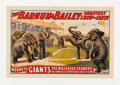 Baseball Collectibles:Others, 1913 Barnum & Bailey Famous Elephant Base Ball Team Circus Poster. ...