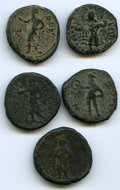 Ancients:Ancient Lots , Ancients: ANCIENT LOTS. India. Kushan Empire. Ca. 2nd century AD.Lot of five (5) AE tetradrachms. Good-Fine.... (Total: 5 coins)