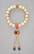 Jewelry, A Chinese Carved White Jade and Coral Beaded Necklace, Qing Dynasty. 13 inches (33.0 cm). ...