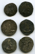 Ancients:Ancient Lots  , Ancients: ANCIENT LOTS. Oriental. Hunnic Tribes. Nezak Huns. Ca.7th-8th centuries AD. Lot of six (6) BI drachms. Fine-Choice VF....(Total: 6 coins)