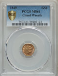 Gold Dollars, 1849 G$1 Closed Wreath MS61 PCGS Gold Shield. PCGS Population: (19/206). NGC Census: (78/295). CDN: $550 Whsle. Bid for pro...