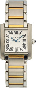 Timepieces:Wristwatch, Cartier, Tank Francaise, Stainless Steel and 18K Yellow Gold, Automatic, Ref. 2302, Circa 2000s. ...