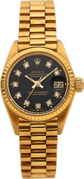 Timepieces:Wristwatch, Rolex, Fine Ladies Oyster Perpetual Datejust, 18K Yellow Gold andDiamond, Ref. 6917, Circa 1981. ...