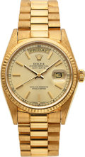 Timepieces:Wristwatch, Rolex, Very Fine President Day-Date, 18K Yellow Gold, Ref. 18038, Circa 1979. ...