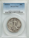 Walking Liberty Half Dollars: , 1919-D 50C Fine 15 PCGS. PCGS Population: (78/690). NGC Census: (40/446). Mintage 1,165,000. ...