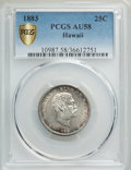 Coins of Hawaii , 1883 25C Hawaii Quarter AU58 PCGS Gold Shield. PCGS Population:(168/1397 and 1/50+). NGC Census: (128/998 and 0/9+). CDN: ...