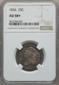 Bust Quarters: , 1836 25C AU58+ NGC. NGC Census: (7/24 and 1/1+). PCGS Population: (10/28 and 0/1+). AU58. Mintage 472,000. ...