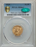 Indian Quarter Eagles: , 1929 $2 1/2 MS64+ PCGS. CAC. PCGS Population: (2010/221 and 146/11+). NGC Census: (2808/282 and 85/4+). MS64. Mintage 532,0...