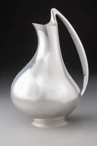 A Henning Koppel Silver Water Pitcher No. 992: The Pregnant Duck for Georg Jensen