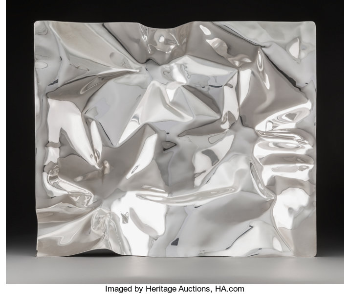 A Large Verner Panton Silver Tray in Original Box for Georg Jensen