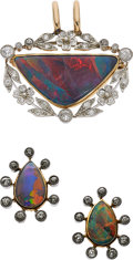 Estate Jewelry:Suites, Belle Époque Opal, Diamond, Platinum-Topped Gold Jewelry Suite,Marcus & Co.. ... (Total: 2 Items)