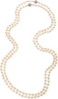 Estate Jewelry:Necklaces, Cultured Pearl, Diamond, White Gold Necklaces. ... (Total: 2 Items)