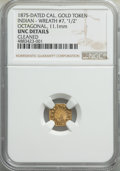Western Souvenir Gold, 1875 Token California Gold, Octagonal, Wreath #7, -- Cleaned -- NGC Details. Unc. 11.1 mm....