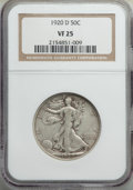 Walking Liberty Half Dollars: , 1920-D 50C VF25 NGC. NGC Census: (24/253). PCGS Population: (67/509). Mintage 1,551,000. ...