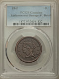 Large Cents: , 1847 1C -- Environmental Damage -- PCGS Genuine. AU Details. NGC Census: (18/294). PCGS Population: (47/410). CDN: $150 Whs...