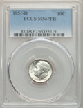 Roosevelt Dimes, 1951-D 10C MS67 Full Bands PCGS. PCGS Population: (76/7). NGC Census: (82/5). CDN: $90 Whsle. Bid for problem-free NGC/PCGS...