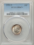 Roosevelt Dimes, 1951-S 10C MS67+ PCGS. PCGS Population: (344/18 and 26/0+). NGC Census: (652/22 and 5/0+). CDN: $38 Whsle. Bid for problem-...
