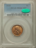 Lincoln Cents: , 1928 1C MS66+ Red PCGS. CAC. PCGS Population: (427/68 and 22/16+). NGC Census: (99/13 and 0/1+). CDN: $180 Whsle. Bid for p...