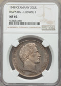 German States:Bavaria, German States: Bavaria. Ludwig I 2 Gulden 1848 MS62 NGC,...
