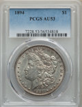 Morgan Dollars: , 1894 $1 AU53 PCGS. PCGS Population: (396/2532). NGC Census: (265/1860). CDN: $975 Whsle. Bid for problem-free NGC/PCGS AU53...