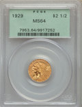 Indian Quarter Eagles: , 1929 $2 1/2 MS64 PCGS. PCGS Population: (2010/221). NGC Census: (2808/282). MS64. Mintage 532,000. ...