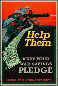 "World War I Propaganda (U.S. Treasury Department, 1917). Rolled, Fine/Very Fine. Poster (20"" X 30"") ""Help..."