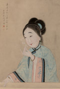 Works on Paper, Chinese School (Qing Dynasty). Portrait of a Woman, late Qing Dynasty. Hanging scroll, ink, color, and gouache on paper...