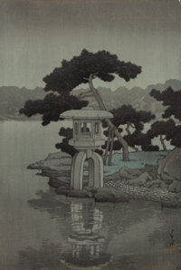 Hasui Kawase (Japanese, 1883-1957) TWO COLOR WOODBLOCK PRINTS 14 x 10-1/8 inches (35.6 x 25.7 cm) (l
