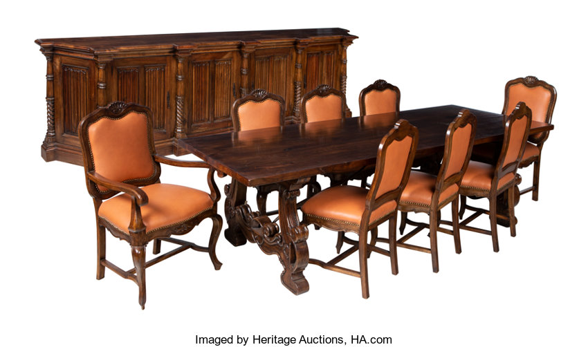 An Italian Walnut Dining Table And Eight Leather Upholstered Chairs With Buffet 29 7 8 X 97 40 3 Inches
